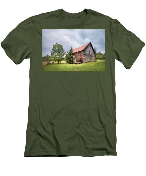 Men's T-Shirt (Slim Fit) featuring the photograph Little Rustic Barn, Adirondacks by Gary Heller