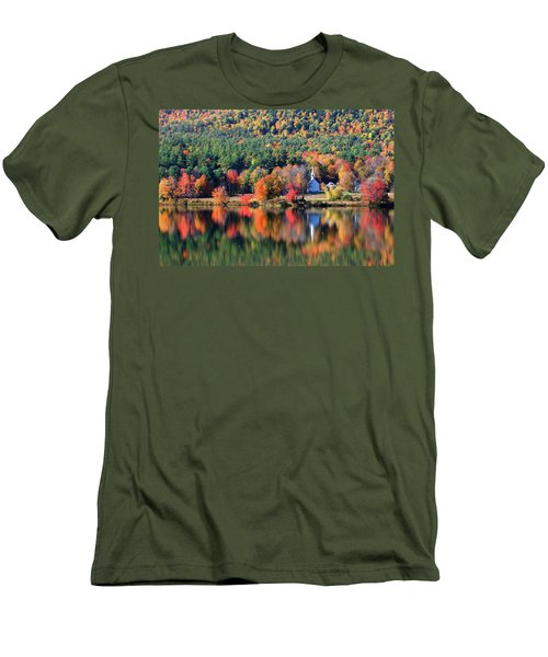 Men's T-Shirt (Slim Fit) featuring the photograph 'little White Church', Eaton, Nh	 by Larry Landolfi