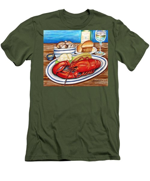 Men's T-Shirt (Slim Fit) featuring the pastel Lobster Dinner by Patricia L Davidson