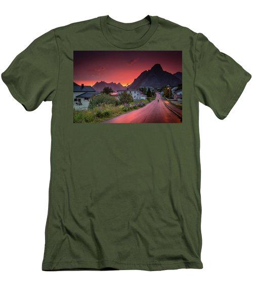 Lofoten Nightlife  Men's T-Shirt (Slim Fit) by Alex Conu