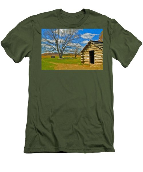 Men's T-Shirt (Slim Fit) featuring the photograph Log Cabin Valley Forge Pa by David Zanzinger