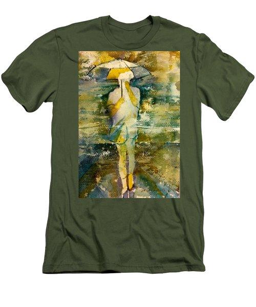 London Rain Theme Men's T-Shirt (Slim Fit) by Debbie Lewis