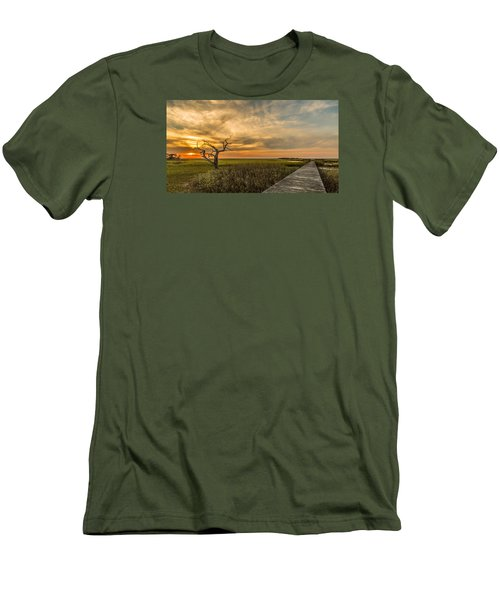 Lone Cedar Dock Sunset - Dewees Island Men's T-Shirt (Athletic Fit)