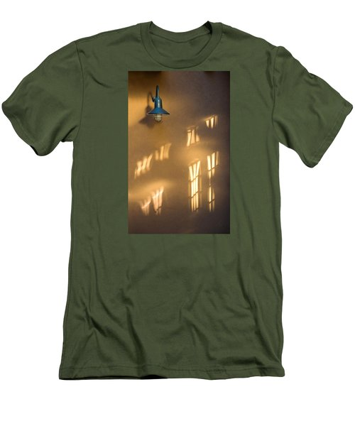 Men's T-Shirt (Slim Fit) featuring the photograph Lonely Lamp Among Sunrise Window Light Reflections by Gary Slawsky