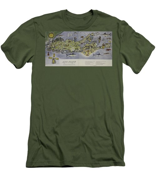 Men's T-Shirt (Slim Fit) featuring the photograph Long Island An Interpretive Cartograph by Duncan Pearson