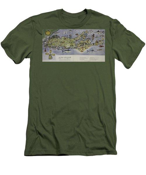 Long Island An Interpretive Cartograph Men's T-Shirt (Slim Fit) by Duncan Pearson
