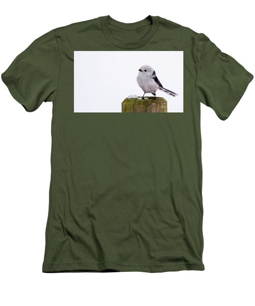 Men's T-Shirt (Slim Fit) featuring the photograph Long-tailed Tit On The Pole by Torbjorn Swenelius