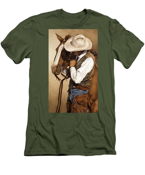 Men's T-Shirt (Slim Fit) featuring the painting Long Time Partners by Pat Erickson