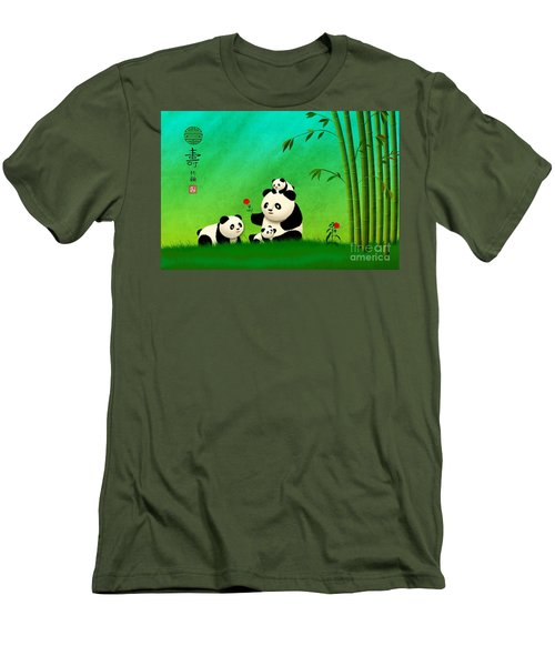 Longevity Panda Family Asian Art Men's T-Shirt (Athletic Fit)