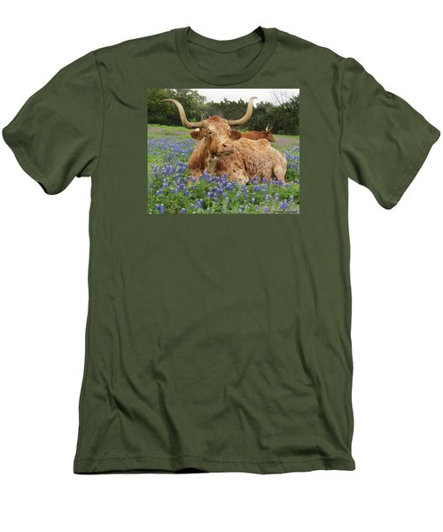 Da210 Longhorn In A Sea Of Bluebonnets By Daniel Adams Men's T-Shirt (Athletic Fit)