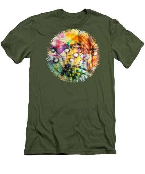 Men's T-Shirt (Slim Fit) featuring the mixed media Look Around by Mimulux patricia no No