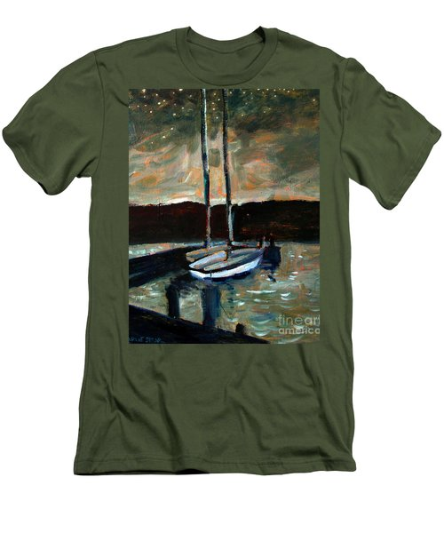 Men's T-Shirt (Slim Fit) featuring the painting Looking Across Upper Lake Camp Wayne by Charlie Spear