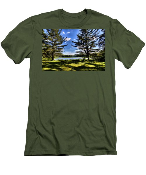 Looking At The Moose River Men's T-Shirt (Slim Fit) by David Patterson
