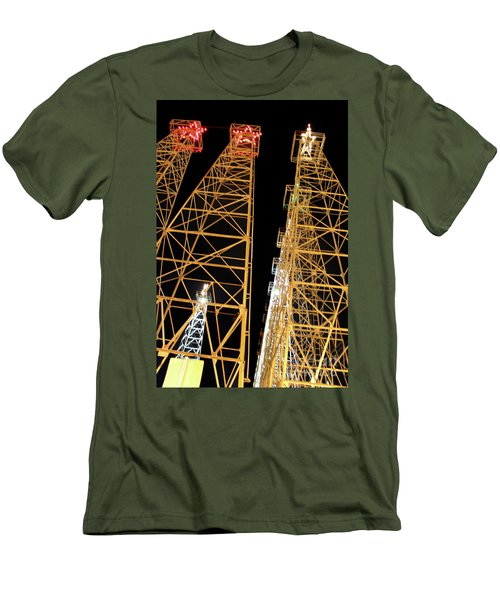 Looking Up At The Kilgore Lighted Derricks Men's T-Shirt (Slim Fit) by Kathy  White
