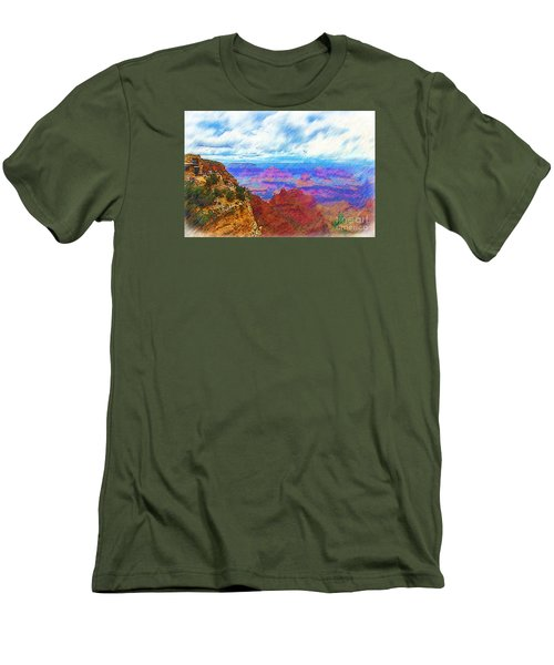 Men's T-Shirt (Slim Fit) featuring the digital art Lookout Studio Sketched by Kirt Tisdale