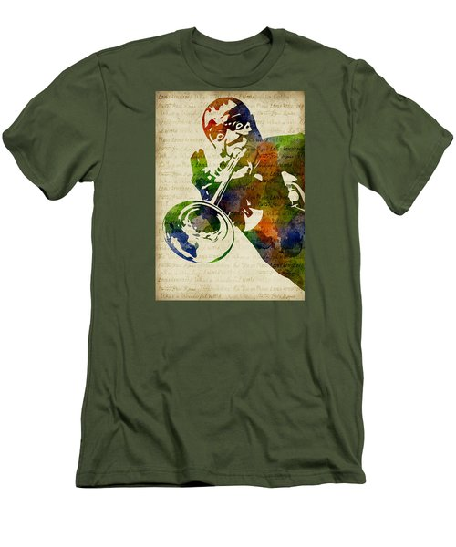 Louis Armstrong Watercolor Men's T-Shirt (Slim Fit) by Mihaela Pater