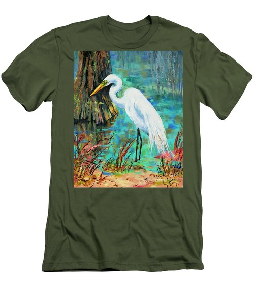 Men's T-Shirt (Slim Fit) featuring the painting Louisiana Male Egret by Dianne Parks