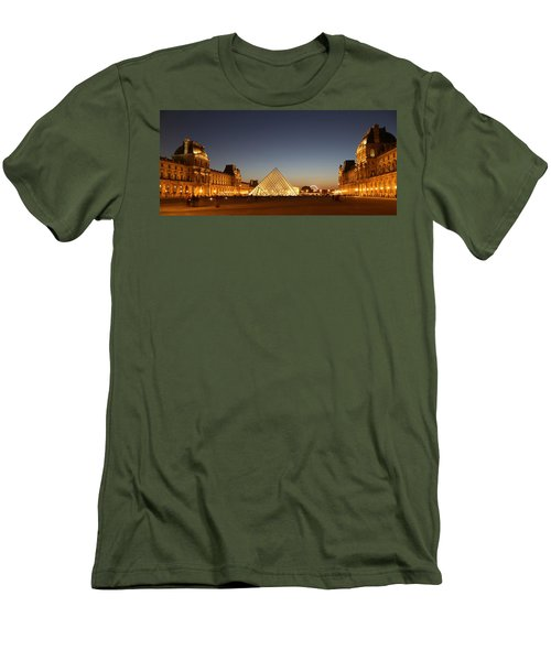 Men's T-Shirt (Slim Fit) featuring the photograph Louvre At Night 2 by Andrew Fare