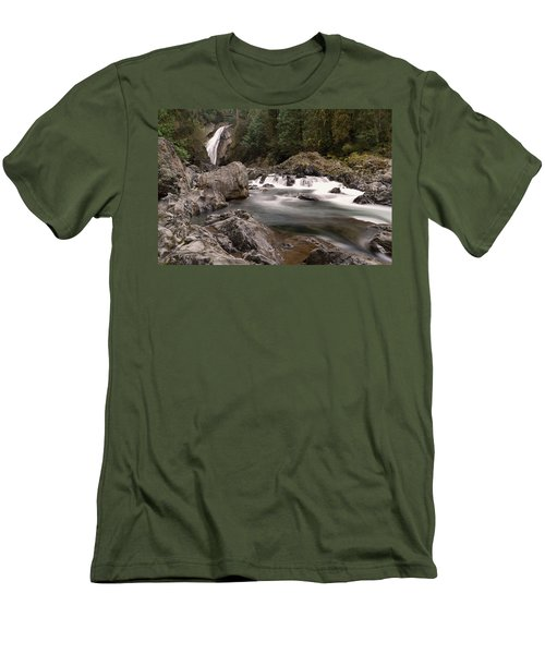 Men's T-Shirt (Slim Fit) featuring the photograph Lower Twin Falls by Jeff Swan
