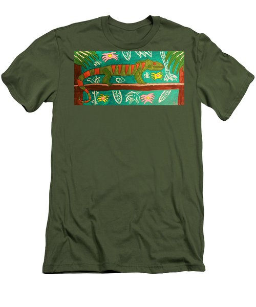 Lurking Iguana Men's T-Shirt (Slim Fit) by Brandon Drucker