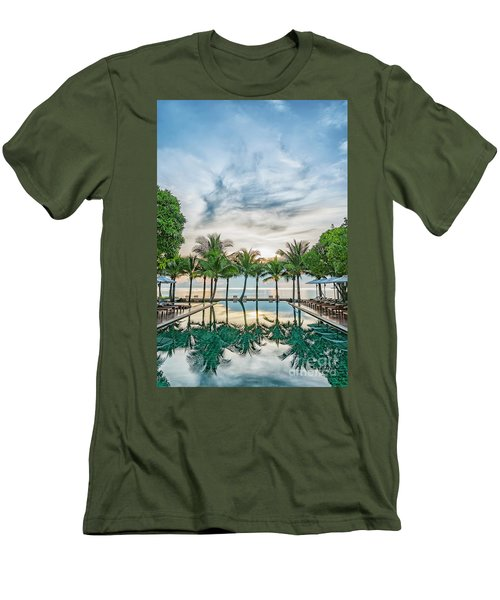 Men's T-Shirt (Slim Fit) featuring the photograph Luxury Pool In Paradise by Antony McAulay