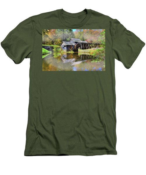Men's T-Shirt (Slim Fit) featuring the digital art Mabry Grist Mill by Sharon Batdorf