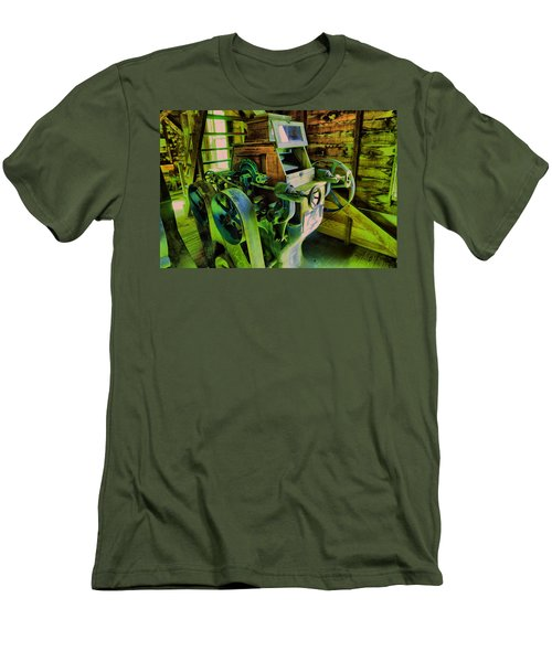 Men's T-Shirt (Slim Fit) featuring the photograph Machinery In An Old Grist Mill by Jeff Swan