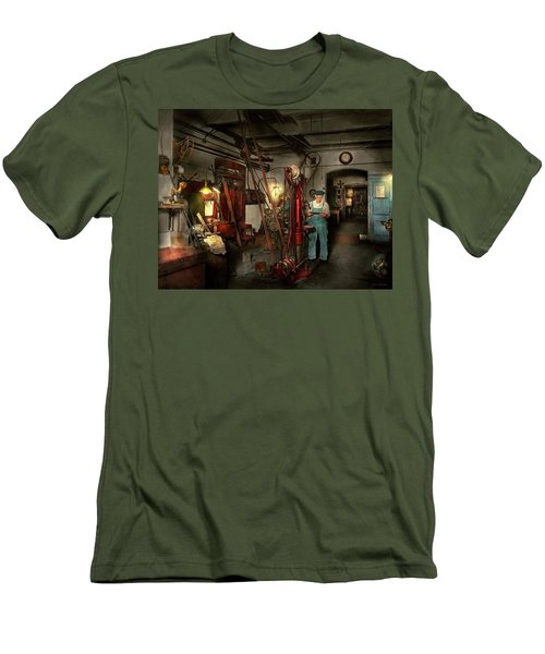 Men's T-Shirt (Slim Fit) featuring the photograph Machinist - Government Approved 1919 by Mike Savad