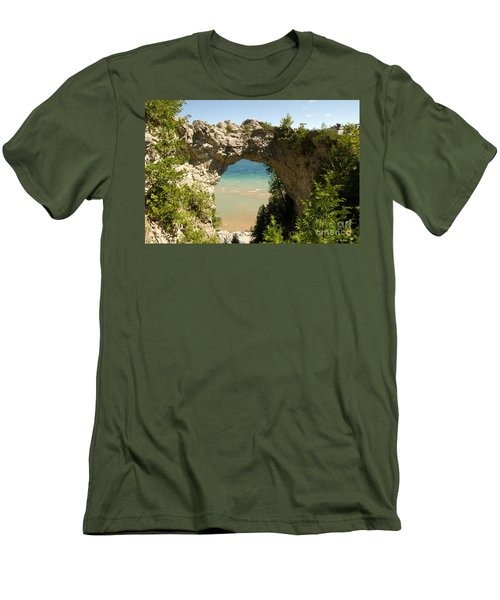 Mackinac Island Arch Men's T-Shirt (Slim Fit) by Larry Carr
