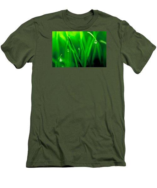 Macro Image Of Fresh Green Grass Men's T-Shirt (Slim Fit) by John Williams