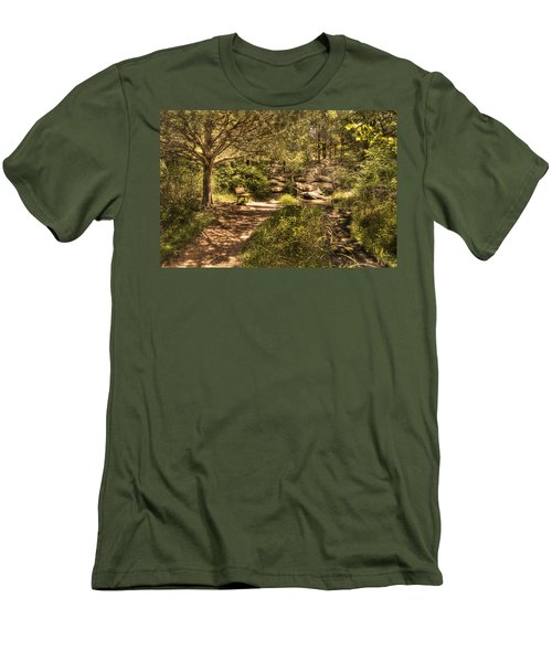 Men's T-Shirt (Slim Fit) featuring the photograph Magic Bench by Tamyra Ayles