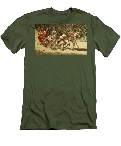 Men's T-Shirt (Slim Fit) featuring the drawing Magical Christmas by Melita Safran