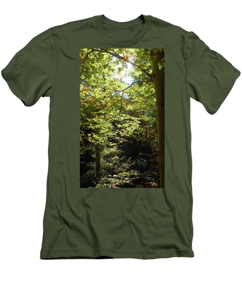 Men's T-Shirt (Athletic Fit) featuring the photograph Magical Forest Beginning Of Fall by Irina Sztukowski