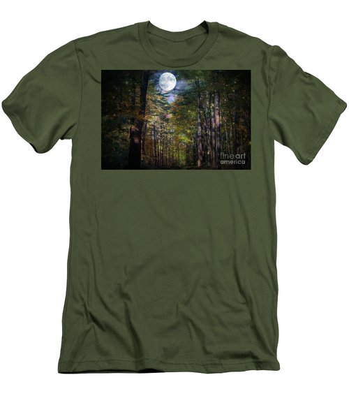 Magical Moonlit Forest Men's T-Shirt (Slim Fit) by Judy Palkimas