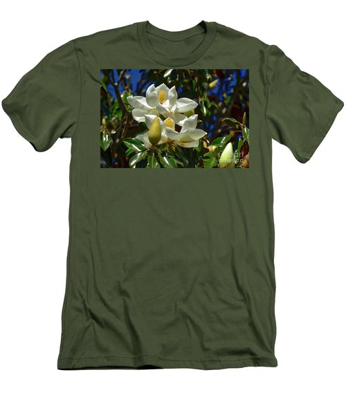 Magnolia Blossoms Men's T-Shirt (Slim Fit) by Kathy Baccari