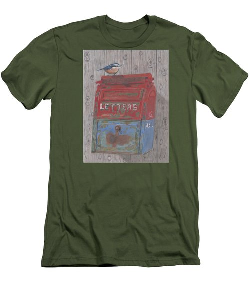 Men's T-Shirt (Slim Fit) featuring the painting Mail Call by Arlene Crafton