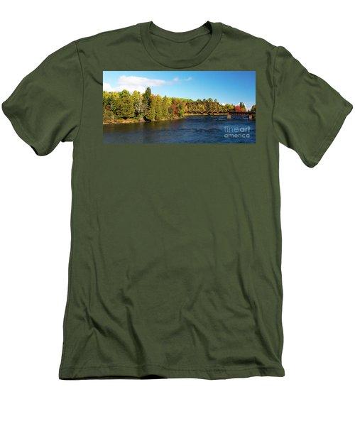 Maine Rail Line Men's T-Shirt (Slim Fit) by Sandy Molinaro