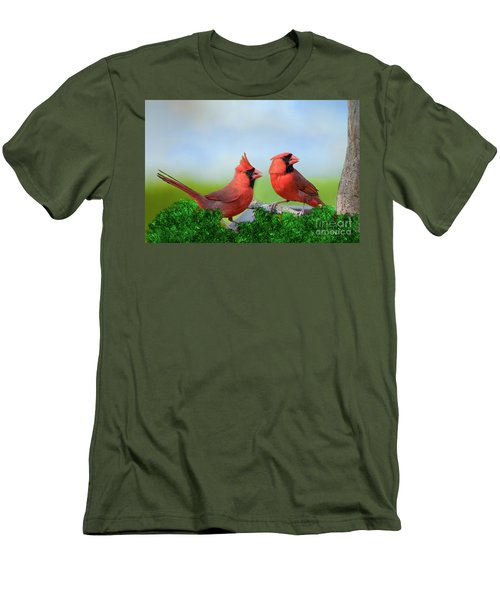 Men's T-Shirt (Slim Fit) featuring the photograph Male Northern Cardinals In Spring by Bonnie Barry