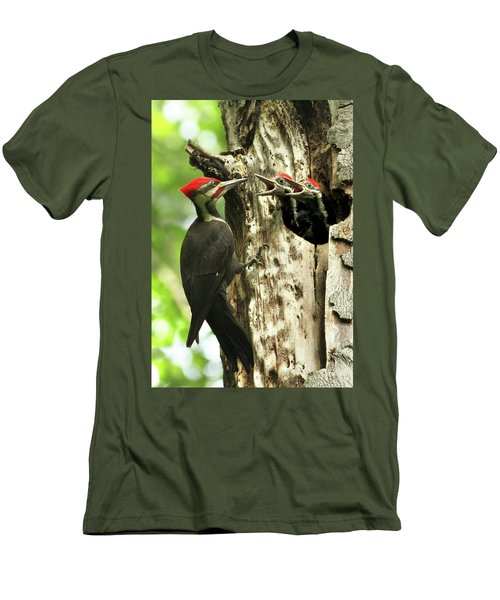 Male Pileated Woodpecker At Nest Men's T-Shirt (Slim Fit) by Mircea Costina Photography