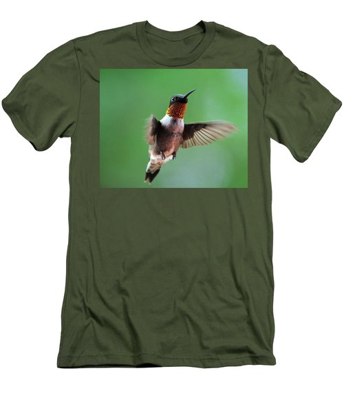 Male Ruby-throated Hummingbird Men's T-Shirt (Slim Fit) by Kathy Eickenberg