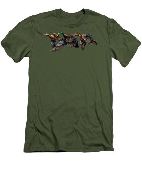 Mallard Ducks In Flight Men's T-Shirt (Athletic Fit)