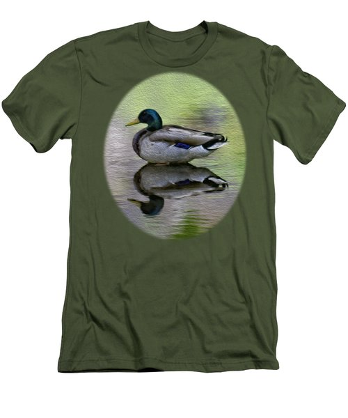 Men's T-Shirt (Slim Fit) featuring the photograph Mallard In Mountain Water by Mark Myhaver