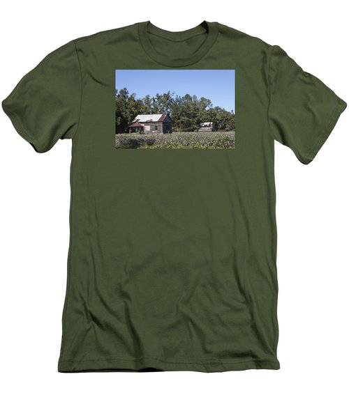 Manning Cotton Field With Barns Men's T-Shirt (Slim Fit) by Suzanne Gaff