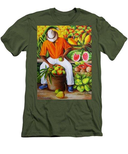 Manuel The Caribbean Fruit Vendor  Men's T-Shirt (Athletic Fit)