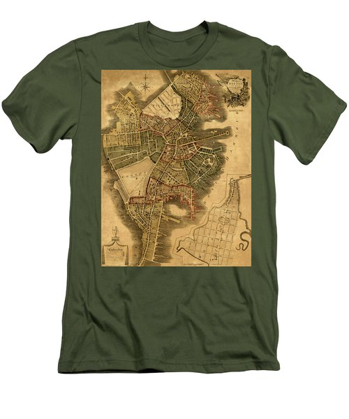 Map Of Boston 1814 Men's T-Shirt (Slim Fit) by Andrew Fare