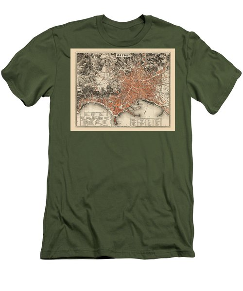 Map Of Naples 1860 Men's T-Shirt (Slim Fit) by Andrew Fare