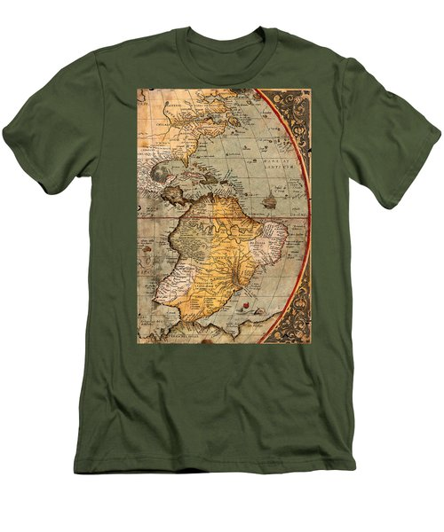 Map Of The Americas 1570 Men's T-Shirt (Slim Fit) by Andrew Fare