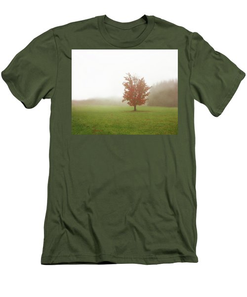 Men's T-Shirt (Slim Fit) featuring the photograph Maple Tree In Fog With Fall Colors  by Brooke T Ryan