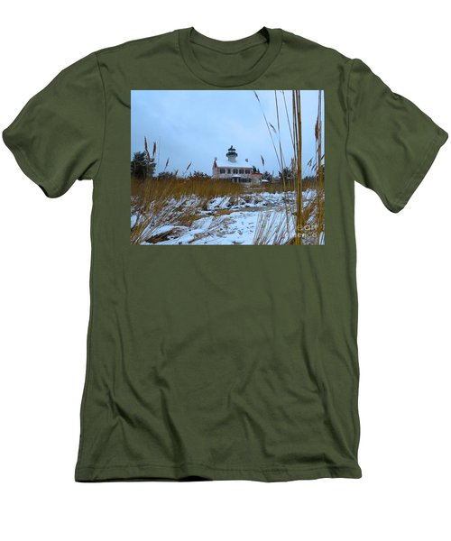 March Snow At East Point Lighthouse Men's T-Shirt (Slim Fit) by Nancy Patterson