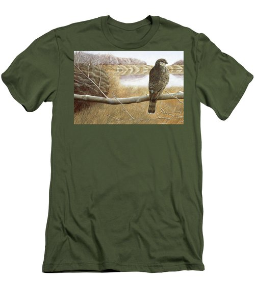 Men's T-Shirt (Slim Fit) featuring the painting Marsh Hawk by Laurie Stewart